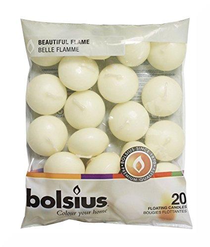 Bolsius Ivory Floating Candles in Bag Set of 20 and Inspirational Fridge Magnet