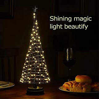 Mini Metal Christmas Tree,Mini Lighted Christmas Tree,Contemporary Tree with Battery,Indoor for Holiday, Party,Christmas Festival Black& L