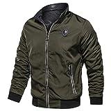 Bravetoshop Men's Lightweight Bomber Jacket Two-Sided Wear Breathable Jacket Hip Hop Windbreaker Outwear(Army Green,XXL)