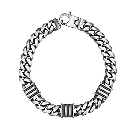 Pulsera de plata de ley 925 de satén/mate con cierre de langosta para mujer – 23 centímetros