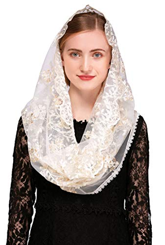 Pamor Chapel Veil Mantilla Veils Latin Mass Gold White Embroidered Head Covering Lace Scarf (Infinity)