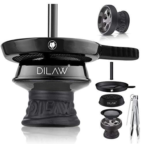 DILAW® Shisha Steinkopf Set Kaminkopf Small Tabaksieb Kohlezange Kaminaufsatz Tabak Kopf, Farbe:Black
