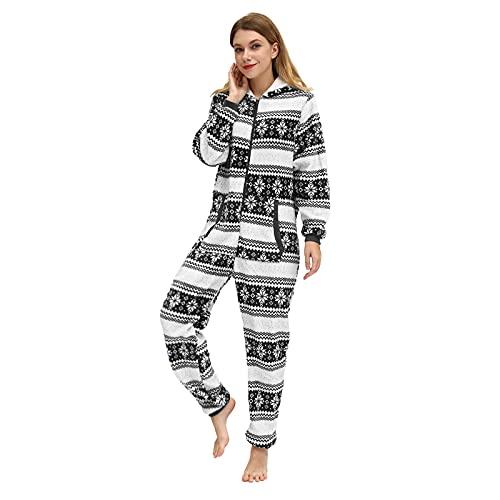 BIBOKAOKE Jumpsuit Schlafanzug Damen Frottee Weihnachts Pyjama Damen Einteilig Strampler Mit Kapuze und Reißverschluss Overall Nachtwäsche Long Sleeve Bodysuit Hausanzug Freizeitanzug
