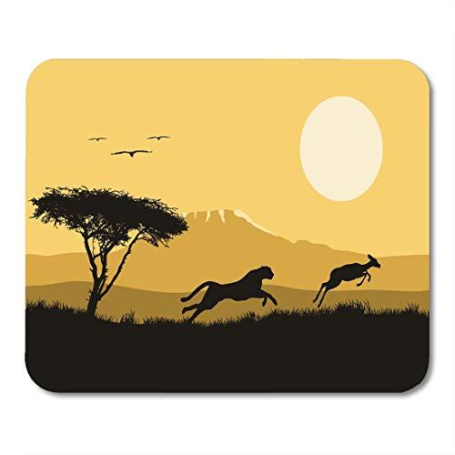 Mauspads, schwarze Savanne horizontal von Afrika Wildleben Jagd Jaguar und Antilopenbaum und Tiere Weißes afrikanisches weiches Mausmattenpad für Geschäftsreisen,25x30cm