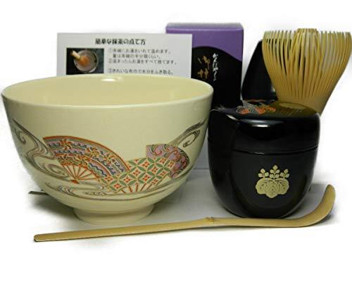 すべて日本製 抹茶茶碗もついてくる 抹茶セット 衛生的な茶筅 高台寺蒔絵の中棗 茶道具 (【抹茶碗】扇流し)