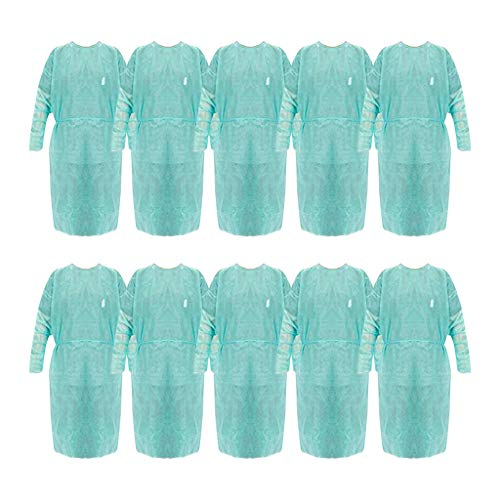 Yaguan 10PC Disposable Lsolation Clothes Security Gown Overalls Green Suit 10PCS Made in USA