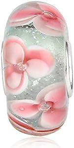 Abalorio de cristal de Murano Lampwork de plata de ley 925 con diseño de flor de la hoja del encanto del aniversario para la pulsera del encanto de Pandora (A)