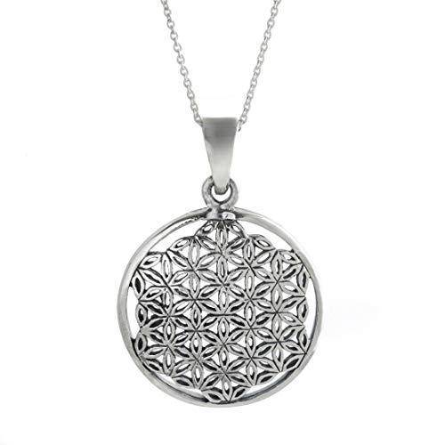 Silverly Colgante en Plata de Ley .925 Collar Mujer Flor de la Vida Mandala Cadena 46 cm