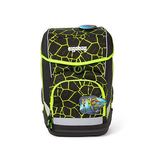 Ergobag cubo DrachenfliegBär, Lumi Edition, ergonomischer Schulrucksack, Set 5-teilig, 19 Liter, 1.100 g, Gelbe Lava