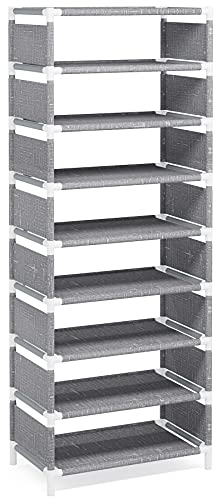 Vertical Shoe Rack, 8 Tiers Narrow Shoe Shelf 16 Pairs Shoe Storage Organizer Space Saving