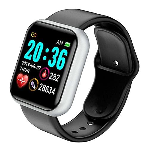 nJiaMe Reloj Elegante Y68 Impermeable Pantalla de frecuencia Cardiaca Gran Prueba Aptitud del Reloj Hombres Mujeres Compatible podómetro Cronómetro con Andriod iOS Negro Plata