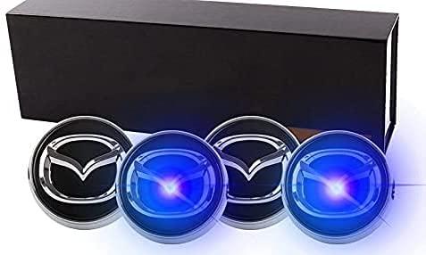 4pcs Coche Tapas Llantas para Mazda Angkesaila Atez CX-4CX-5MX-5 con El Logotipo Insignia Rueda Tapas Centro, LevitacióN MagnéTica, EmisióN De Luz AutomáTica A Una Velocidad De 40 Millas