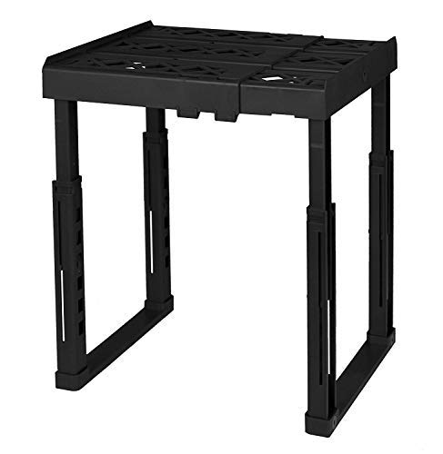 """Tools for School Locker Shelf with Adjustable Width 8"""" - 12 1/2"""" and Height 9 3/4"""" - 14"""". Stackable and Heavy Duty. Ideal for School, Work and Gym Lockers (Black)"""