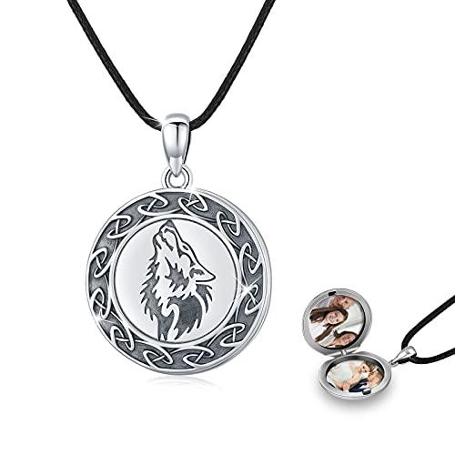 Wolf Medaillon Kette Silber 925 Oxidiert Wolf Foto Medaillon Kette Amulett zum öffnen für Bilder Wolf Kette for Herren Männer Vatertagsgeschenke für Papa
