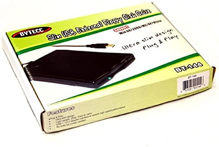 BYTECC BT-144 Slim Black USB External Floppy Disk Drive, Plug & Play, USB Powered