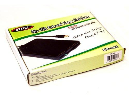 BYTECC BT-144 Slim Black USB External Floppy Disk Drive, Plug & Play, USB Powered