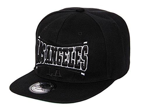 Snapback Cap Basecap Los Angeles Hip Hop Käppi, Farbe: Schwarz (La-15) - Größenverstellbar