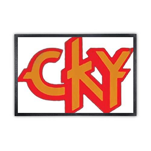 Alfombra de suelo no tejida, cómoda alfombra de entrada de goma, con logotipo CKY (20 x 32 cm), color negro