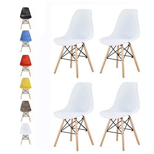 MCC Retro Design Stühle LIA Esszimmerstühle im 4er Set, Eiffelturm inspirierter Style für Küche, Büro, Lounge, Konferenzzimmer etc, 6 Farben, Kult (Weiß)