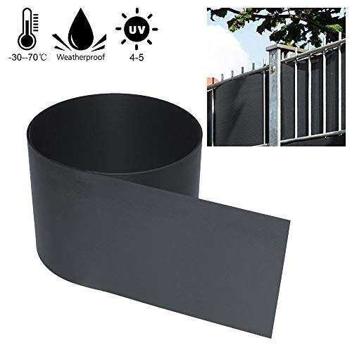 wolketon 10 Stück Sichtschutzstreifen-Anthrazit Hartes PVC Höhe 19 cm x Breite 252 cm Einstab und Doppelstabmatten UV-Resistent Für Garten Balkon effektiver Sichtschutzfolie