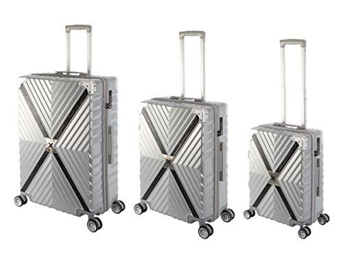 Travelhouse® Kofferset Miami X Zip 3er Hartschalen-Koffer Trolley Reisekoffer Rollkoffer Handgepäck 4 Rollen S-M-L Set 100% Polycarbonat Silber