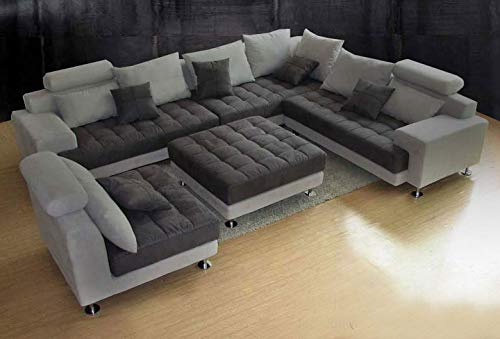 5PC NEW MODERN GREY MICROFIBER BIG SECTIONAL SOFA SET S150RG