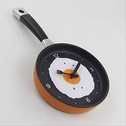 KANGLE-DERI Fashion Personality Wall Clocks Living Room Clocks Kitchen Omelette Pan Clock Silent Clock Simple Clock Wall Watch, Dining Room Decorations,F