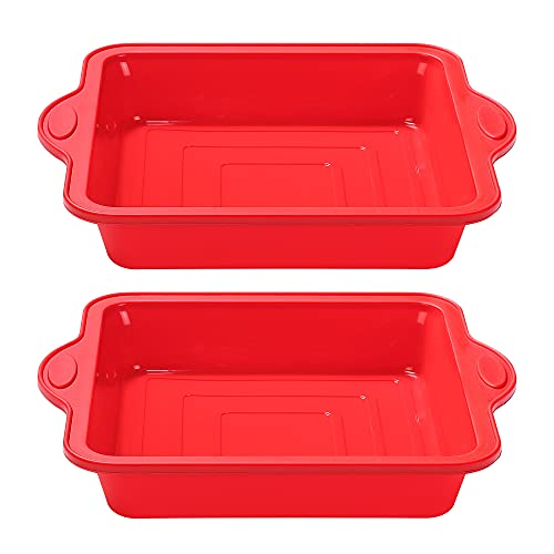 To encounter 8 Inch Silicone Square Cake Pan, Food Grade Nonstick Silicone Baking Pans for Brownies, Cakes, Rice Crispy Treats and Lasagnas with Metal Reinforced Frame More Strength, Set of two