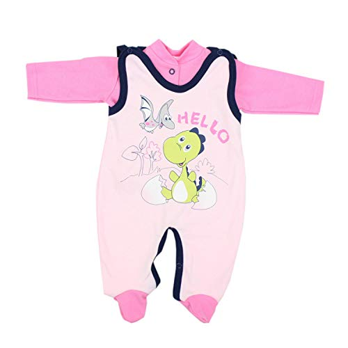 TupTam Estampado Pelele y Traje para Bebé, Set de 2 Piezas, Color: Dino Rosa, Größe: 56