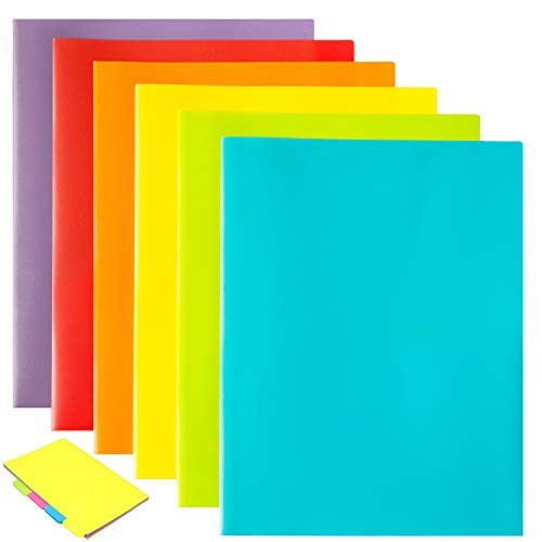 Youngever 12 Pack Plastic Two Pocket Folders, Stay-Put Tabs, 3 Hole Punch Folder, Binder Folders with Pockets, Heavy Duty Plastic Pocket Folder