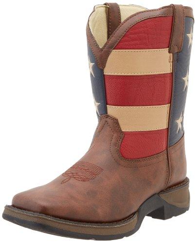 Durango Kids BT245 Lil' 8 Inch Patriotic,Brown/Union Flag,4.5 Big Kid
