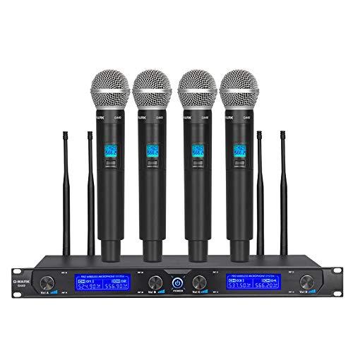 G-MARK - G440 - Système de microphone sans fil professionnel 4 canaux UHF - Microphone à main pour karaoké