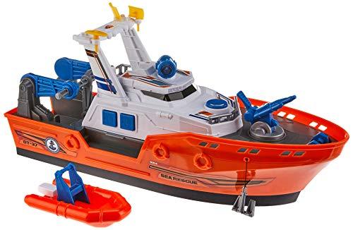 Dickie Toys 203308375 Harbour Rescue 203308375-Harbour, Rettungsschiff mit Licht & Sound, manuelle Wasserpumpe, 39 cm, Mehrfarbig