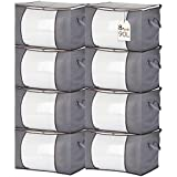 Isbasa 8 Pack 90L Large Capacity Clothes Storage Bags, Foldable Storage Bags for Clothes, Comforter, Blanket, Pillow, Clothing, with Clear Window Sturdy Zipper and Reinforced Thick Fabric Handle, Grey