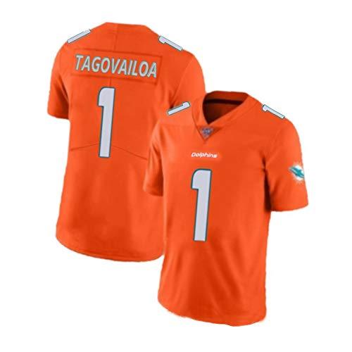 Dolphins Tua Tagovailoa Rugby-Trikot für Männer - Dolphins Home 1# American Football-Trikot für Männer-orange-S(170~178CM)