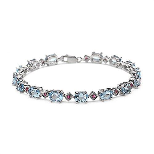 Schmuck-Schmidt-Edles Blautopas-Rubin Armband 925 Silber-15,45 Karat