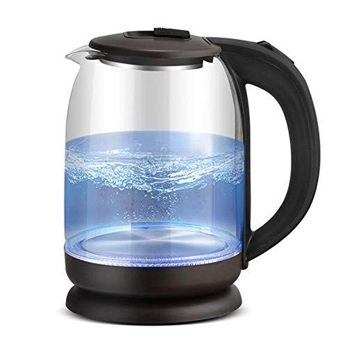 JSMY Hervidor eléctrico de Vidrio ecológico,hervidor de Agua inalámbrico de 2.0 l con LED Azul Iluminado,hervidor de Agua para té de hervido rápido,Apagado automático y protección para hervir y s