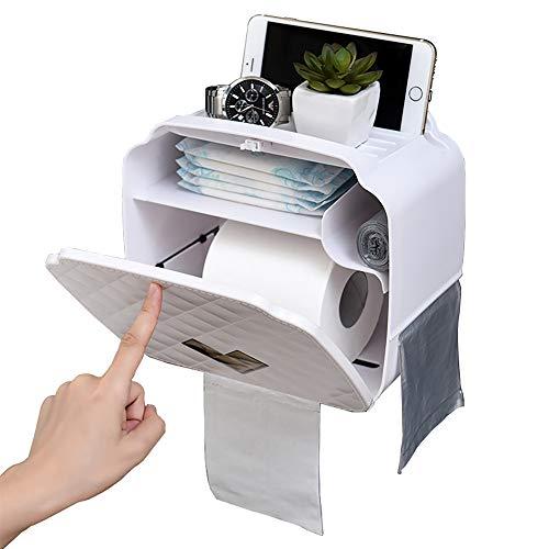 Porte-Papier Hygiénique,Porte-Papier Toilette Mural,Distributeur De Papier étanche/Anti-Poussière Et Porte-Rouleau-Salle De Bain/WC (Blanc)