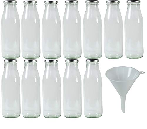Viva Haushaltswaren #32992# 12 x Weithals-Glasflasche 500 ml mit silberfarbenem Schraubverschluss, als Milchflasche, Saftflasche & Smoothieflasche verwendbar (inkl. Trichter Ø 12 cm)
