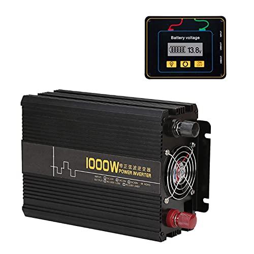 J-Love Inversor de Onda sinusoidal Pura DC 12V/24V a AC 120V/220V/240V 1000W 2000W Transformador convertidor de Pico con Control Remoto