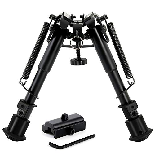 6-9 Inches Tactical Bipod & 360° Picatinny Mount Adapter. All Hardened Steel Structure with Adjustable 5-Notch Legs & Spring Tension Control- New Upgrade!!!