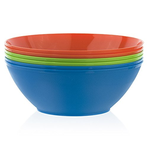 Fresco 10-inch Plastic Mixing and Serving Bowls | set of 6 in 3 Classic Colors