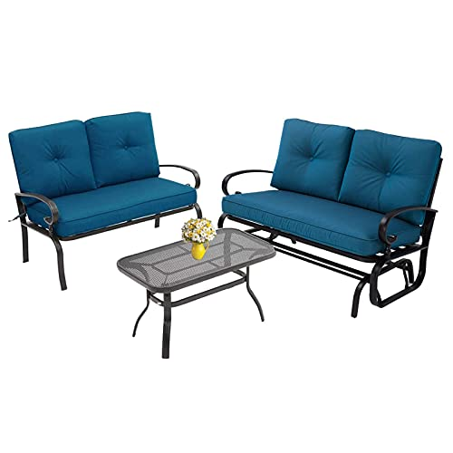 Incbruce 3Pcs(4 Seats) Outdoor Indoor Patio Furniture Set (Swing Glider, Loveseat, Coffee Table) Garden Wrought Iron Conversation Set with Peacock Blue Cushions