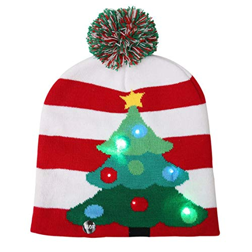 sdfghzsedfgsdfg Kreative Weihnachtsdekorationen Led Lichter Strick Weihnachtsmütze Bunte Hyun Lichter Strick Strickmütze