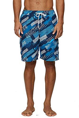 KISSMODA Badehose für Herren Long Beachwear Badeanzüge Quick Dry Surf Shorts Camouflage Blue Large