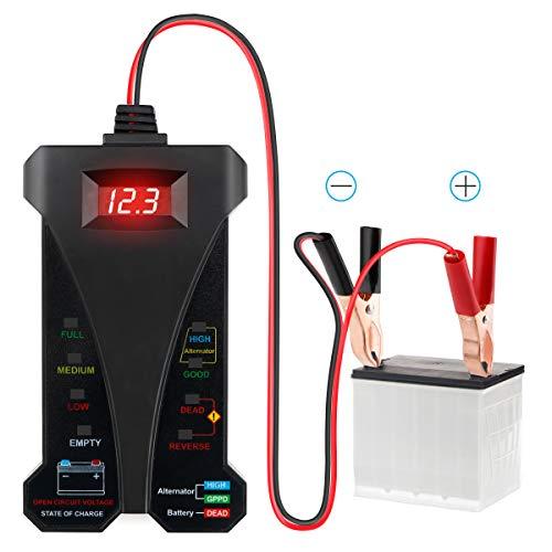 Analizzatore di sistema di ricarica alternatore voltmetro tester batteria digitale 12V con display LCD e indicazione LED per auto e moto di Makerfire