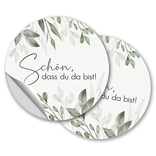 100 pegatinas para bomboneras con texto en alemán 'Schön, dass du da bist', vintage, bohemias, para bodas, cumpleaños, bautizos, confirmación, diseño de flores de eucalipto