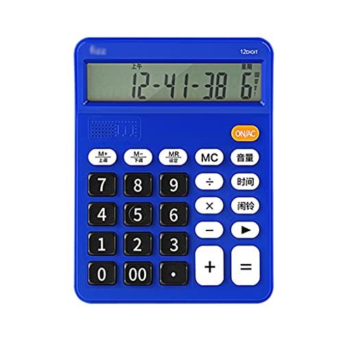 6'calculadora De Escritorio De Botón Grande 12 Calculadora De Voz Digital LCD Calculadora De Escritorio del Examen De Oficina calculadora portatil (Color : Blue)