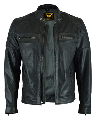 Mens Classic Vintage Two Tone Genuine Top-Grain Cowhide Bicker Leather Jacket (Black, XXX-Large)