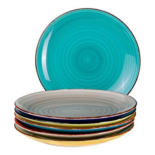6-TLG. Speisetellerset Malaga Bunte Servier-Teller handbemalt zweifarbig Ø 27cm Essteller Rundteller flach Steingut-Geschirr Buffet-Platten Bicolor